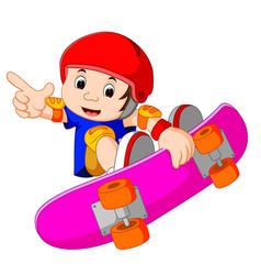 Cool little skateboard guy doing an extreme stunt vector