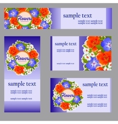 Set of four cards with floral pattern for business vector image vector image