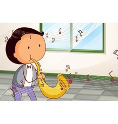 A man playing a saxophone vector image vector image