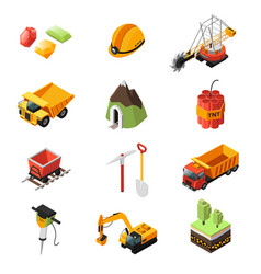Isometric mining industry elements set vector