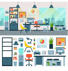 office work place with computer and workers vector image vector image