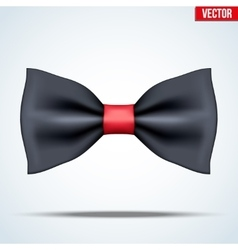 Realistic black and red bow tie vector image