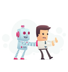 robot controls man vector image