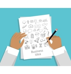 Business Idea Set of Icon Hand Draw vector image