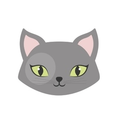 gray cat green eyes pet animal vector image vector image