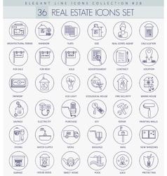 Real Estates outline icon set Elegant thin vector image vector image
