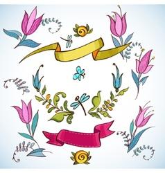 Wedding graphic set laurel wreaths ribbons vector image