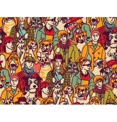Big group people and pets color seamless pattern vector image vector image