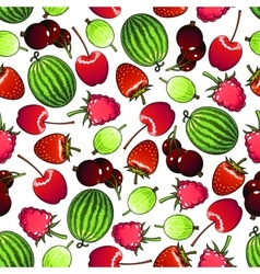 Seamless forest berries and garden fruits pattern vector image