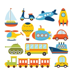 Set of cartoon transport Transportation theme vector image