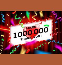 1 million likes thank you vector