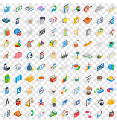 100 business startup icons set isometric 3d style vector image