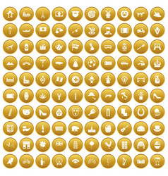 100 europe icons set gold vector image