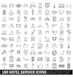 100 hotel service icons set outline style vector
