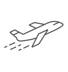 airplane thin line icon aircraft and travel vector image