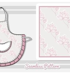 Apron Pink Flowers On Gray vector
