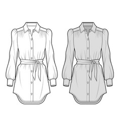 blouse fashion flat sketch template3 vector image