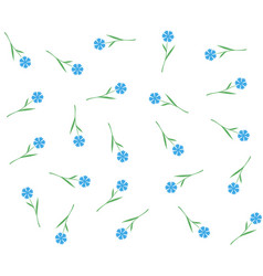 blue flowers seamless pattern cornflowers or flax vector image