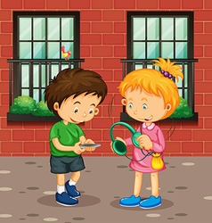 Boy and girl with devices vector