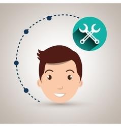 Boy connection app icon vector