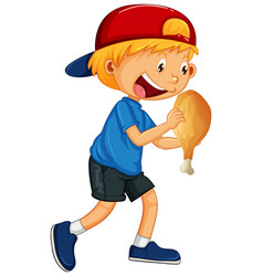 Boy holding chicken food vector