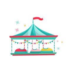 Bumper cars ride fun carnival attraction for kids vector