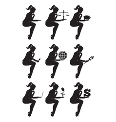 Business lady sitting thinking set of silhouettes vector