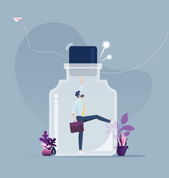 Businessman trying escape from confined bottle vector