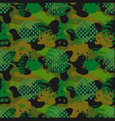 Camouflage spots and leaves green seamless vector