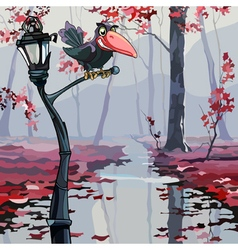 cartoon crow sitting on a lantern in the autumn vector image