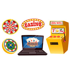 casino playing on money gambling game machine vector image
