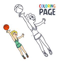 Coloring page with woman baskket ball player vector