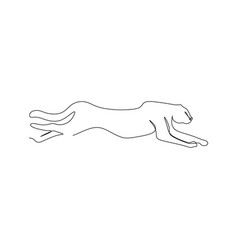 continuous one line drawing a cheetah hunting vector image