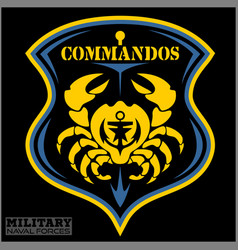 Crab - military patch - marine theme vector