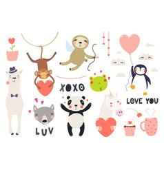 Cute animals valentines day set vector