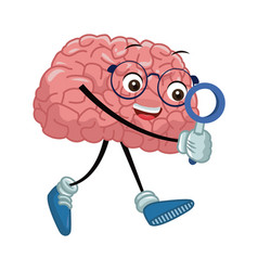 Cute brain searching something vector