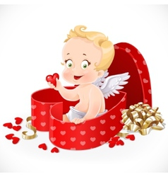 Cute cupid sitting in a gift box in heart shape vector