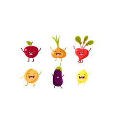 cute fruit and vegetables characters set apple vector image