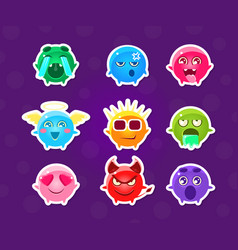 Cute funny monsters stickers with different vector