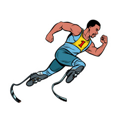 Disabled african runner with leg prostheses vector