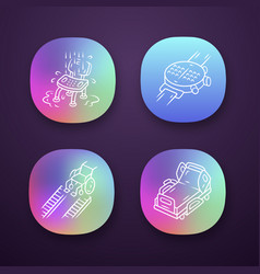 Disabled devices app icons set shower chair vector