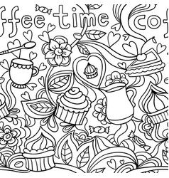 Doodle seamless pattern about coffee or tea time vector