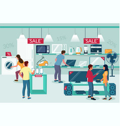 Electronics store sale promotion flat vector