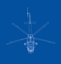 Engineering drawing helicopter vector