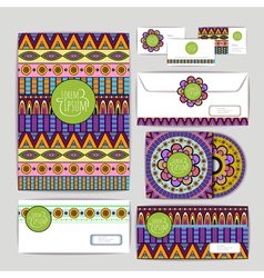 Ethnic ornament document template design vector