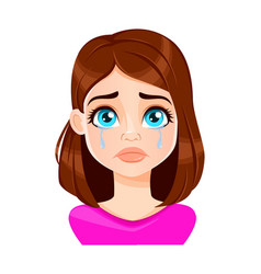 Face expression beautiful woman crying vector