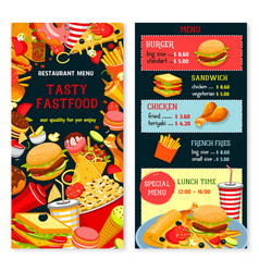 Fast food menu poster vector