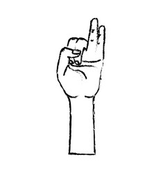 Figure hand with pinky and ring finger up symbol vector