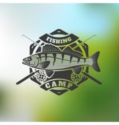 Fishing camp emblem template on colorful vector