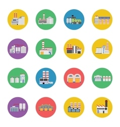 Flat industrial buildings and factories icons vector